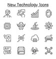 new technology icon set in thin line syle vector image vector image