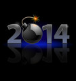 new year 2014 metal numerals with bomb instead of vector image vector image