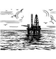 oil platform in sea sketch vector image vector image