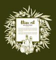 olive oil and fruit sketch poster with copy space vector image vector image