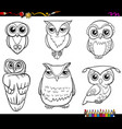 owl characters coloring page vector image