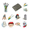 painter and drawing cartoon icons in set vector image