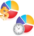 Pie chart with clock vector image vector image