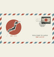 postal envelope with japanese and flag vector image vector image