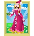 Princess in pink and Frog in fairy landscape vector image