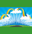 rainbow with clouds in the blue sky and city vector image vector image