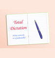 red text total dictation write grammatically it s vector image vector image
