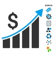 Sales Growth Bar Chart Flat Icon With Bonus vector image