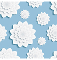 Seamless pattern blue with 3d flower chrysanthemum vector image vector image