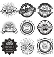 set bicycle rental badges labels logo vector image vector image