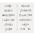 Set hand drawn phrases and words vector image