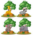 set of isolated wild animal vector image vector image