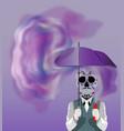 skull holding an umbrella vector image