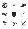 Space set icons in black style Big collection of vector image vector image