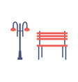 street light and bench cartoon isolated icons vector image