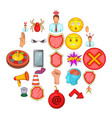 stress icons set cartoon style vector image vector image