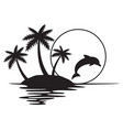 tropical island with palms sunset and dolphin vector image