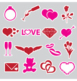 valentines day and love stickers eps10 vector image