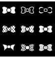 white bow ties icon set vector image