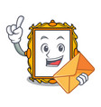 with envelope picture frame character cartoon vector image