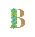 wooden leaves letter b vector image vector image