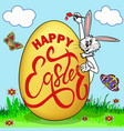 A humorous picture on easter rabbit paints an egg