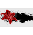 Abstract grunge background with red flower vector image vector image