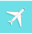 Aircraft with wide wings is flying in blue sky vector image