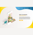 bike sharing landing page website template vector image vector image