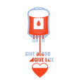 blood donation give blood safe life and charity vector image