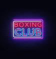 boxing club neon sign boxing text design vector image vector image