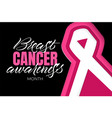 breast cancer awareness month lettering vector image vector image