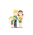 cheerful cartoon family with kids vector image