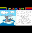 coloring book with seal cartoon vector image