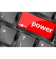 Computer keyboard - key power vector image vector image