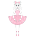 cute cat in dress like ballerina Hand drawn vector image vector image