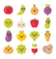 cute smiling vegetables isolated colorful vector image