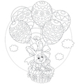 Easter Bunny flies with balloons vector image vector image