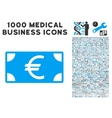 Euro Banknote Icon with 1000 Medical Business vector image