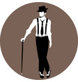faceless vintage man standing with a cane vector image vector image