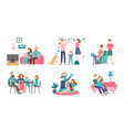 family together at home young couple spend time vector image