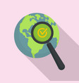 global market search icon flat style vector image