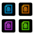 glowing neon document and lock icon isolated on vector image vector image