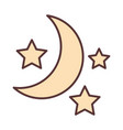 half moon and stars decoration ornament line vector image vector image
