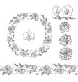 hand drawn doodle style succulent and orchid vector image vector image