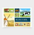 hand drawn retro farm composition vector image vector image