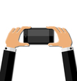 Hands holding mobile phone vector image vector image