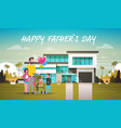 happy father day family holiday daughter son and vector image vector image