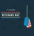 happy veterans day military dog tags american vector image