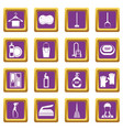 house cleaning icons set purple vector image vector image